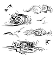 Sea waves set Hand drawn vector image vector image