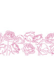 seamless bottom border made of engraving rose vector image vector image