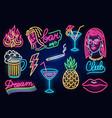 set fashion neon sign night light signboard vector image vector image