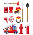 Set icons of firefighting equipment vector | Price: 3 Credits (USD $3)