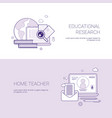set of educational research and home teacher vector image