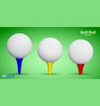 set of realistic golf ball on tee or golf ball vector image vector image