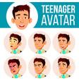teen boy avatar set asian face emotions vector image vector image