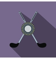 Two crossed golf clubs and a ball flat icon vector image vector image