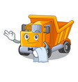 waiter truck on highway road with mascot vector image