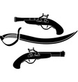 weapon of pirates stencil vector image vector image