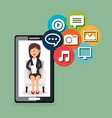 woman working with social media icon vector image vector image
