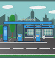 petrol gas station concept in flat design style vector image