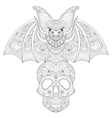 Zentangle stylized Bat seating on sugar Skull for vector image