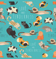 seamless pattren family of cats vector image