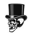 skull in gentleman hat design element for poster vector image