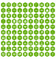 100 success icons hexagon green vector image vector image