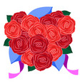 a bouquet of roses in the form of a heart on a vector image vector image