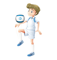 A boy using the ball with the flag of Israel vector image vector image