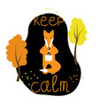 a cute fox character meditating placard vector image