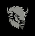 american bison head metallic icon vector image vector image