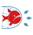big fish in a fishing net vector image vector image