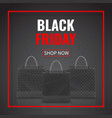 black friday sale realistic paper shopping bag vector image vector image