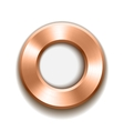bronze donut button template with metal texture vector image
