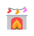 burning fireplace and socks hanging above vector image vector image