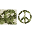 Camouflage pattern and Peace Symbol vector image vector image