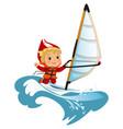 cartoon boy waving hello and sailing in sea vector image