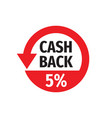 cash back 5 percent money refound - concept badge vector image