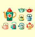 colored teapots with drawings set bright green vector image
