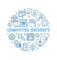 computer security round outline creative vector image