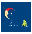 crescent moon in a Christmas hat vector image