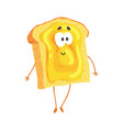 cute cartoon toast with jam and smiley face funny vector image vector image