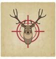 deer head on red target vintage background vector image vector image