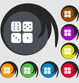 Dices icon sign Symbols on eight colored buttons vector image