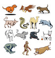 farm animal and wildlife mascot cartoon set vector image