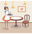flat bakery store interior with table wooden vector image vector image