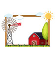 frame template with turbine and barn vector image vector image