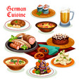 german cuisine dinner with beer and sausage icon vector image vector image