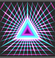 glowing neon portal triangle geometric shape with vector image