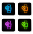 glowing neon smartwatch with screwdriver and vector image vector image