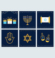 hanukkah greeting cards with jewish symbols vector image vector image