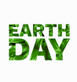happy earth day text with with leaves vector image