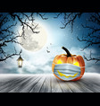 holiday halloween background with pumpkin wearing vector image vector image