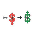 icon concept dollar arrow down with keyhole vector image
