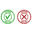 inspection rubber stamp on customs border vector image vector image