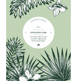invitation card design with exotic plants hand vector image vector image