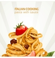 Italian Cooking pasta with sauce banner vector image vector image