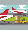logistic airplane worker driving forklift cargo vector image