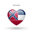Love Mississippi state symbol Heart flag icon vector image vector image