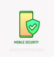 mobile security smartphone with shield line icon vector image