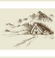 nature camping mountain hut hand drawn natural vector image